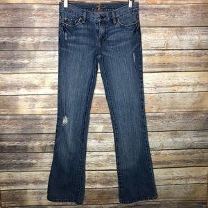 7famk flare distressed jeans long 27 29x34 boho